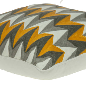 "20"" x 7"" x 20"" Cool Transitional Gray and Orange Pillow Cover With Down Insert"