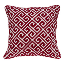 "Load image into Gallery viewer, 20"" x 7"" x 20"" Transitional Red and White Cotton Pillow Cover With Down Insert"