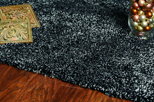 7' x 9'  Polyester Black Heather Area Rug