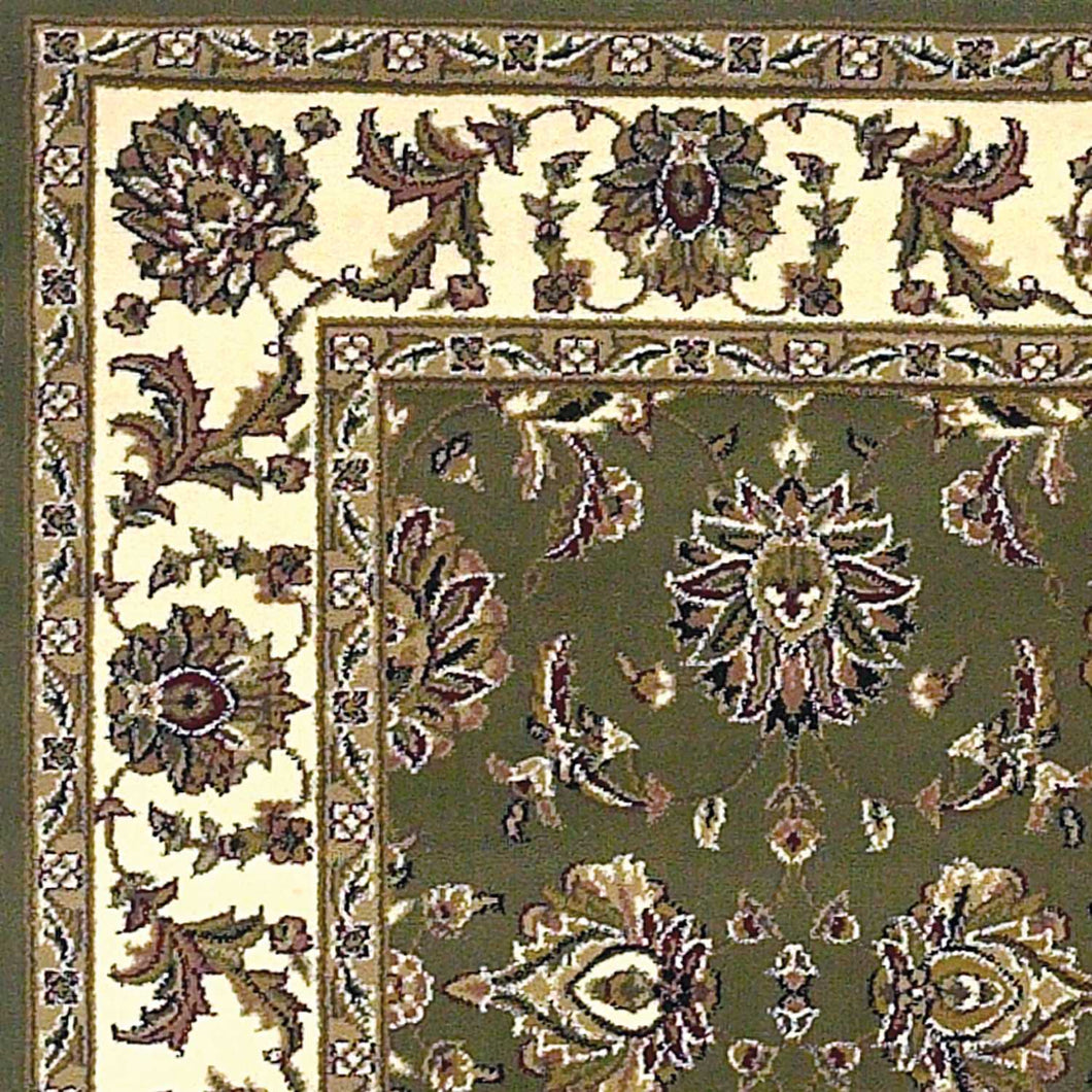7' Square Polypropylene Green and  Ivory  Area Rug