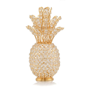 "6"" x 6"" x 12.5"" Gold Crystal Pineapple"