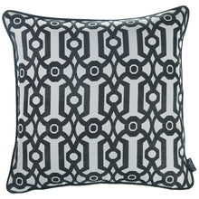 "Load image into Gallery viewer, 17""x 17"" Grey Jacquard Geo Decorative Throw Pillow Cover"