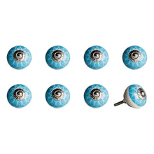 "Load image into Gallery viewer, 1.5"" x 1.5"" x 1.5"" Ceramic/Metal Aqua & White 8 Pack Knob"