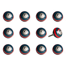 "Load image into Gallery viewer, 1.5"" x 1.5"" x 1.5"" Ceramic/Metal Navy & Red 12 Pack Knob"