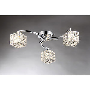 Liel 3-light Glass 22-inch Chrome Ceiling Lamp