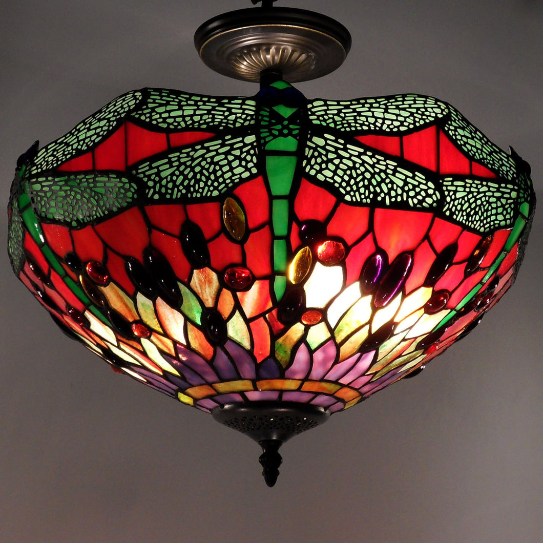 Tiffany-style Dragonfly Ceiling Lamp