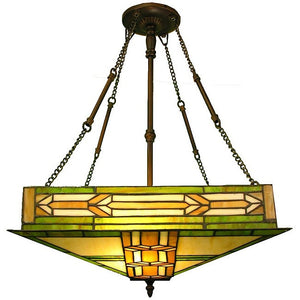 Tiffany-style Mission Ceiling Fixture
