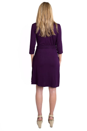 Whimsical Wrap Maternity/Nursing Dress - Plum