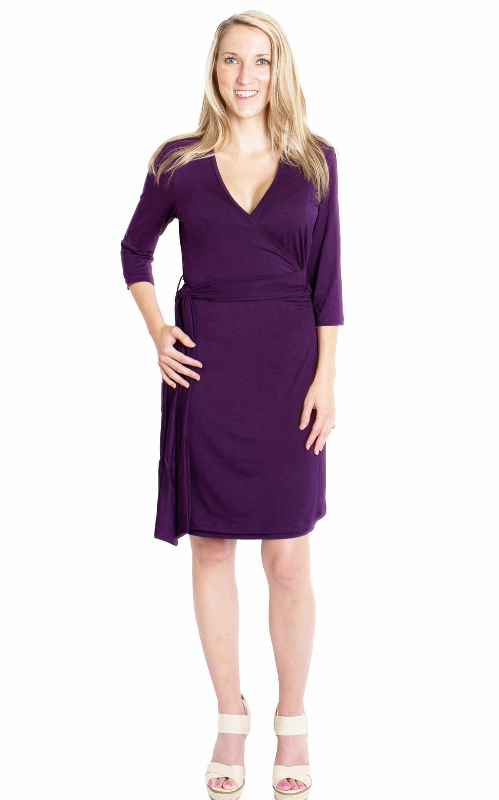 Whimsical Wrap Nursing Dress - Plum