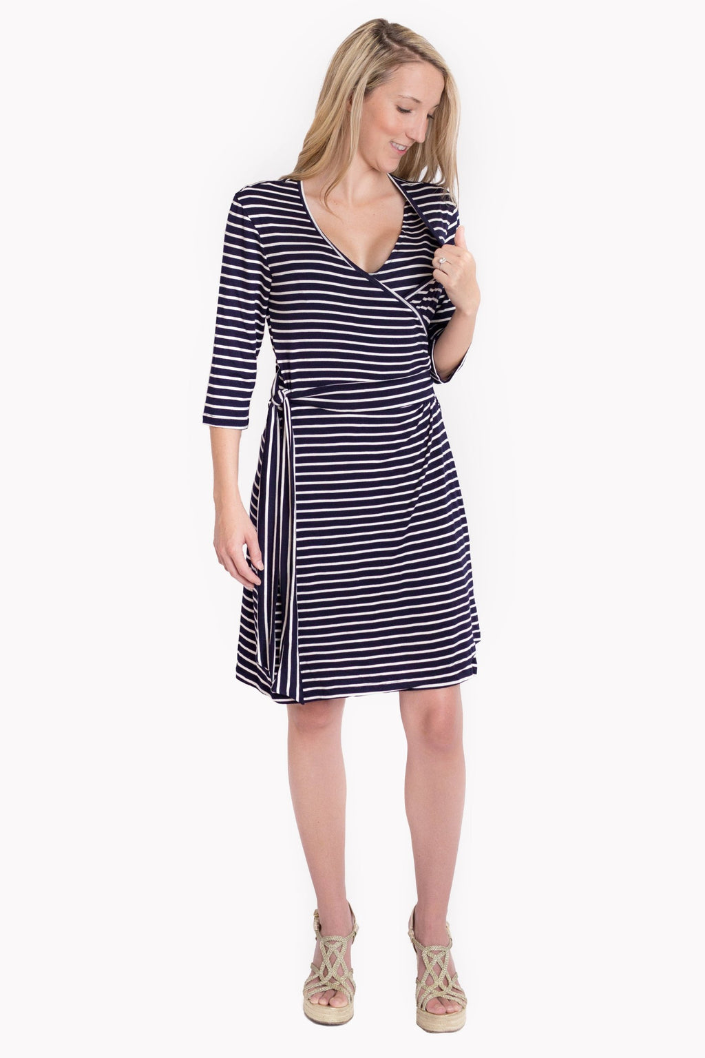 Whimsical Wrap Nursing Dress - Nautical Stripe