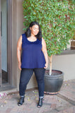 Camille Nursing Tank Top - Navy