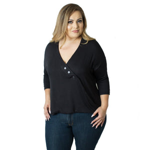 Three-quarter sleeve plus size nursing top in black by Udderly Hot Mama