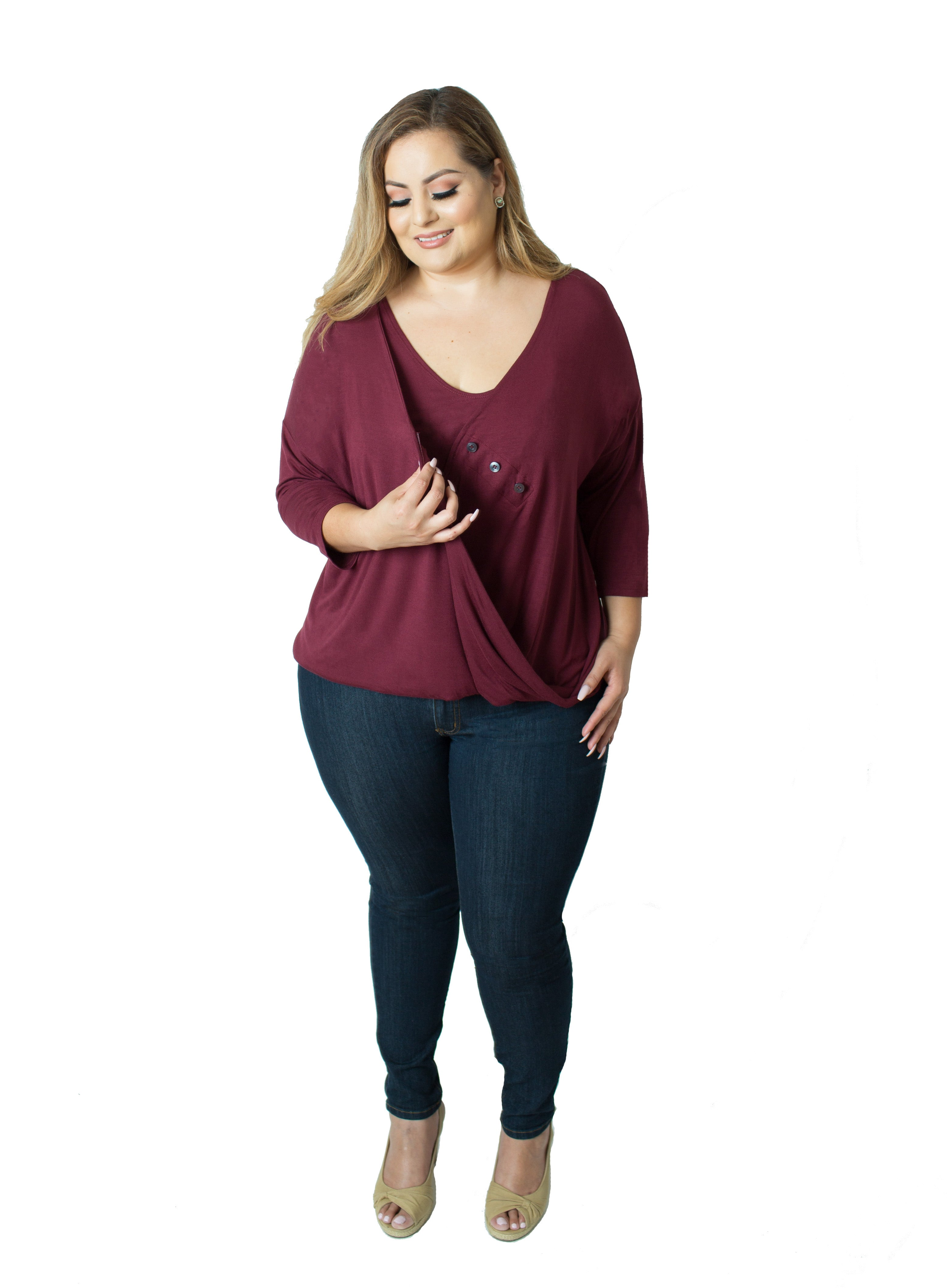 Talia Nursing Top - Bordeaux