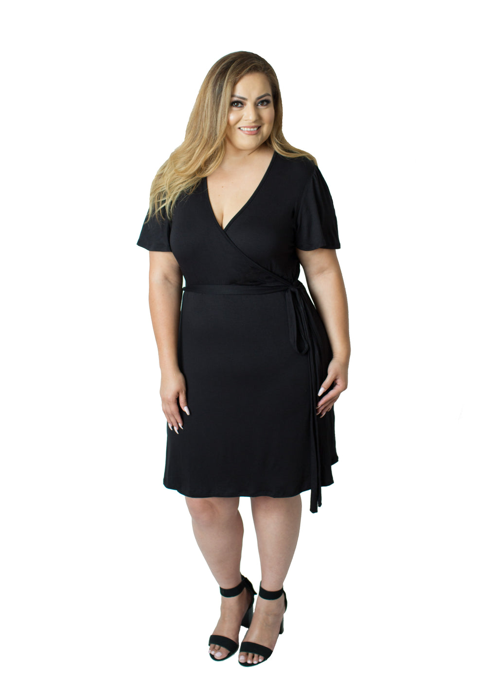 Maternity/Nursing Plus Size Wrap Dress in Black by Udderly Hot Mama