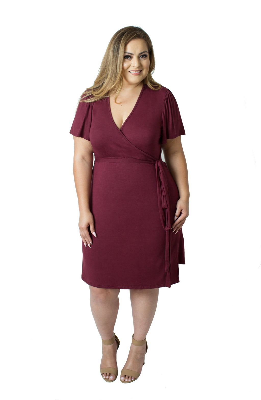 Maternity/Nursing Plus Size Wrap Dress in Bordeaux by Udderly Hot Mama