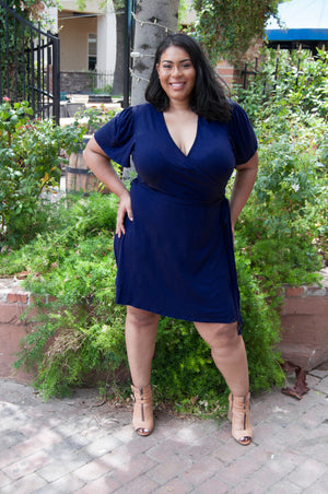 Maternity/Nursing Plus Size Wrap Dress in Navy by Udderly Hot Mama