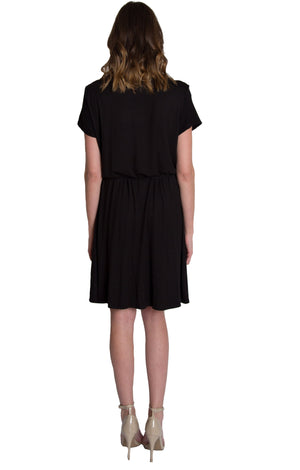 Cowl neck nursing dress in black by Udderly Hot Mama