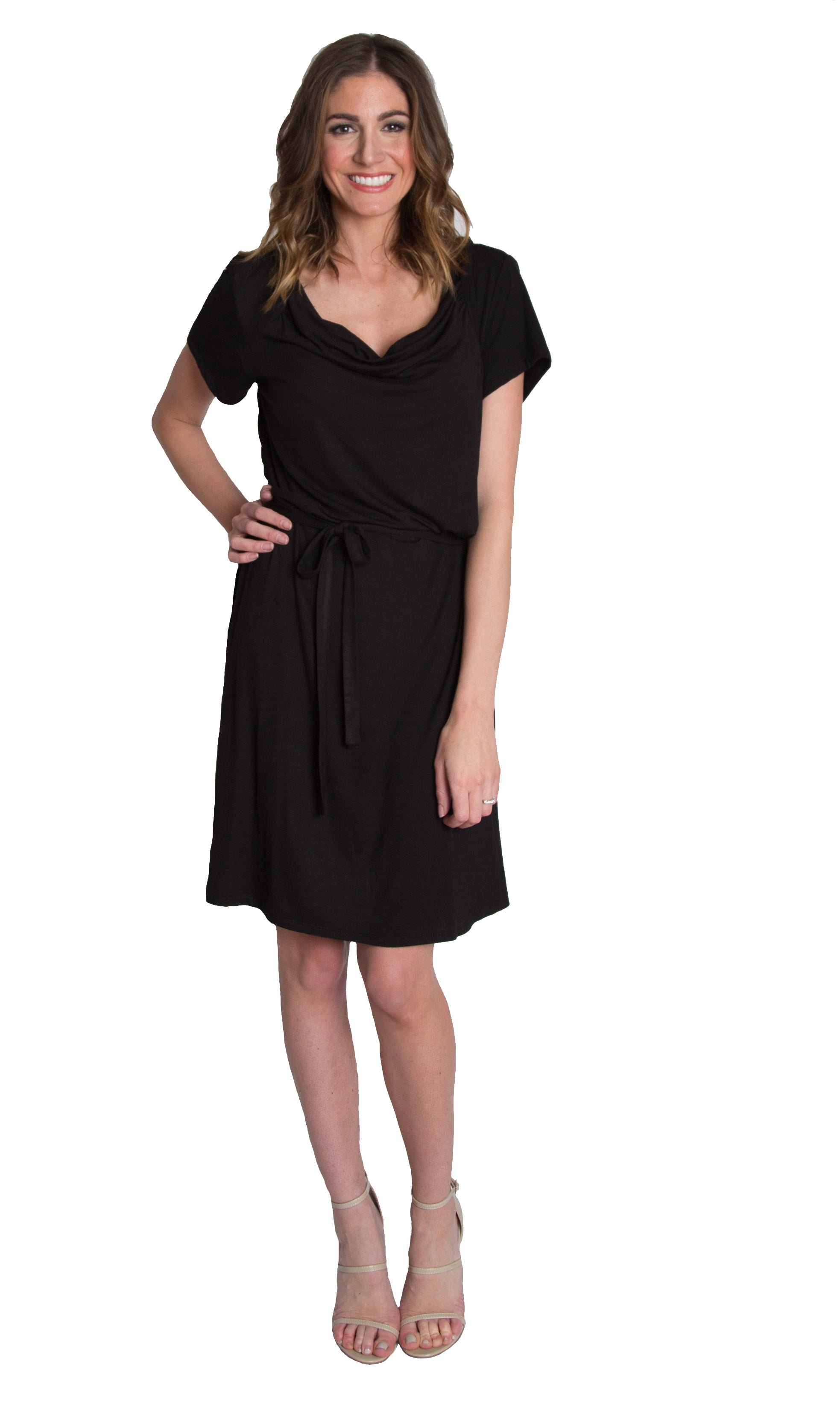 Cowl dress for nursing in black by Udderly Hot Mama