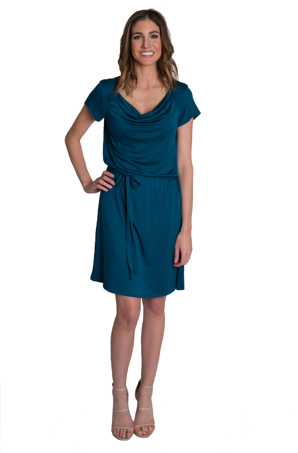 Chic Cowl Nursing Dress - Teal