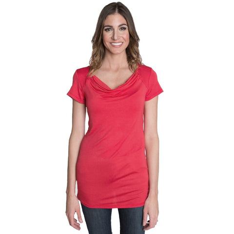 Chic Cowl Nursing Top - Coral