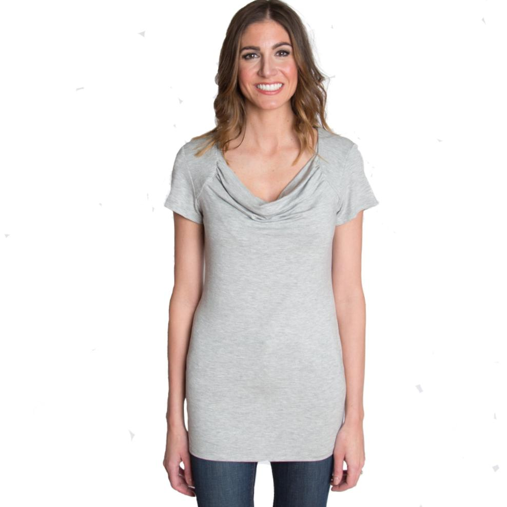 Chic Cowl Nursing Top - Heather Gray