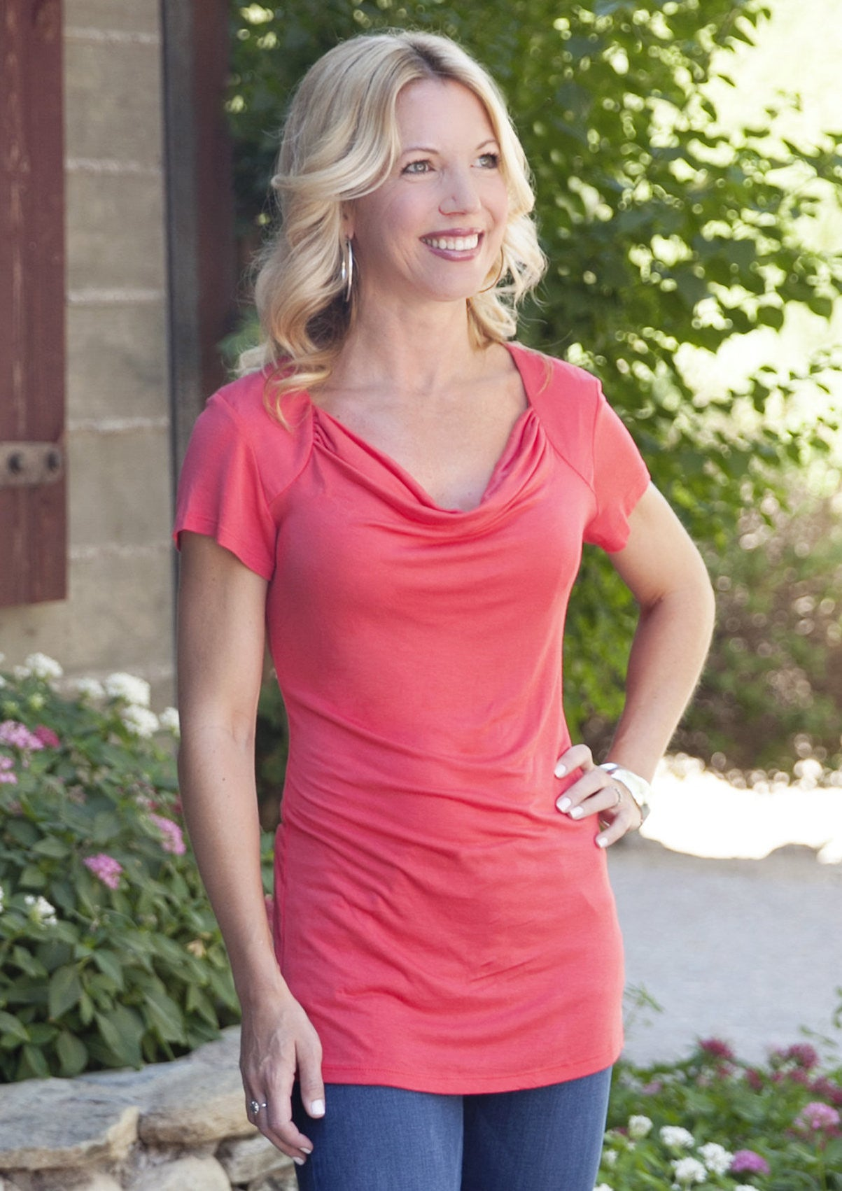 Chic Cowl Nursing Top - Udderly Hot Mama - Coral