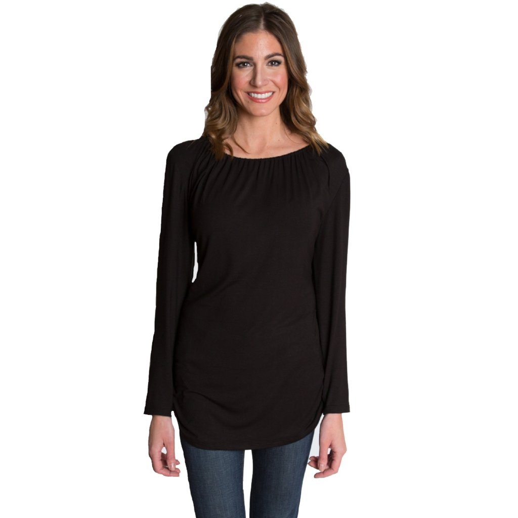 Long Sleeve Maternity/Nursing Top in Black