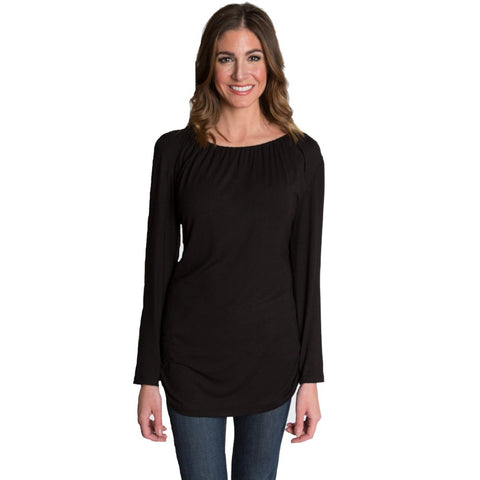 Luxe Long Sleeve Nursing Top - Black