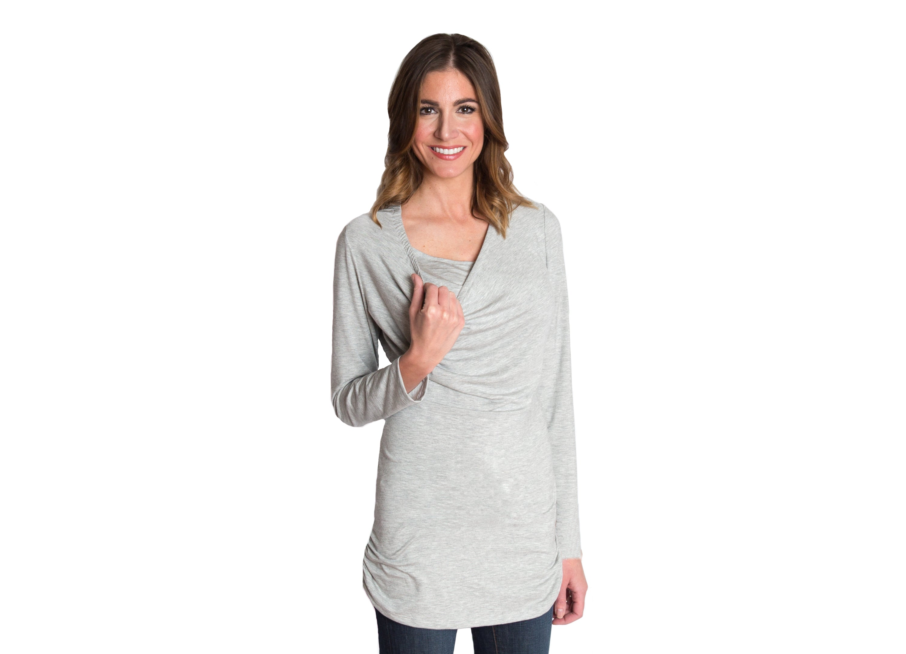 Long Sleeve Maternity/Nursing Top in Heather Gray