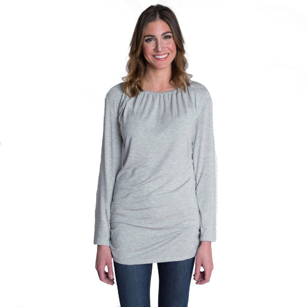 Luxe Long Sleeve Nursing Top - Heather Gray