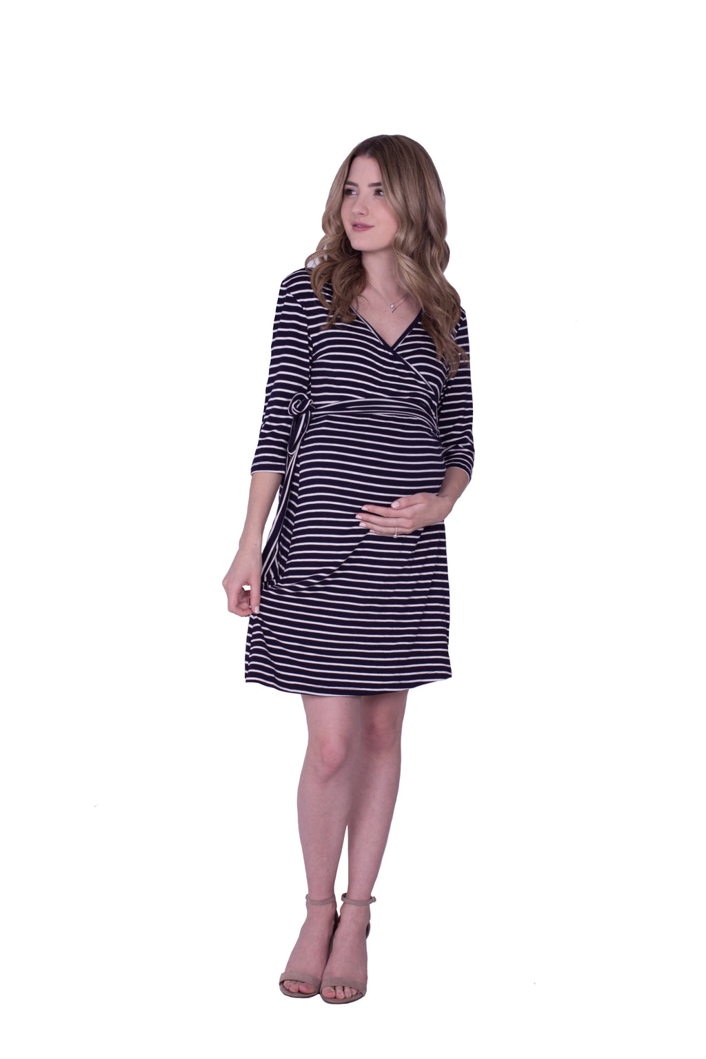 Whimsical Wrap Maternity/Nursing Dress - Nautical Stripe