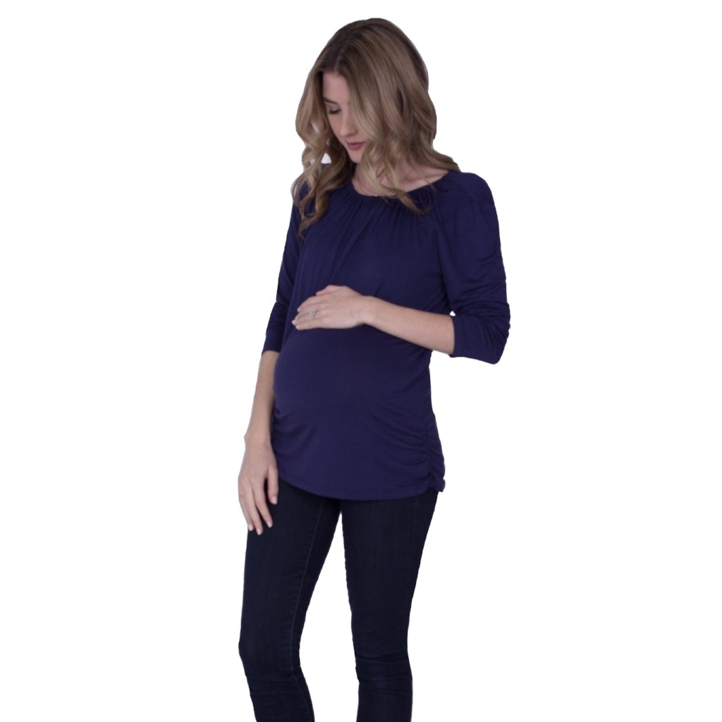 Long Sleeve Maternity/Nursing Top in Navy