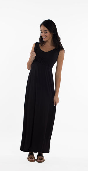Maternity/Nursing Long Maxi Dress in Black