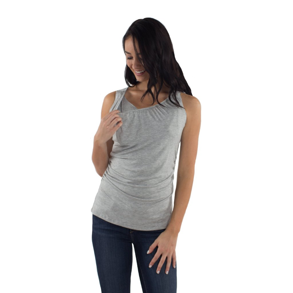 Maternity/Nursing Tank Top in Heather Gray by Udderly Hot Mama