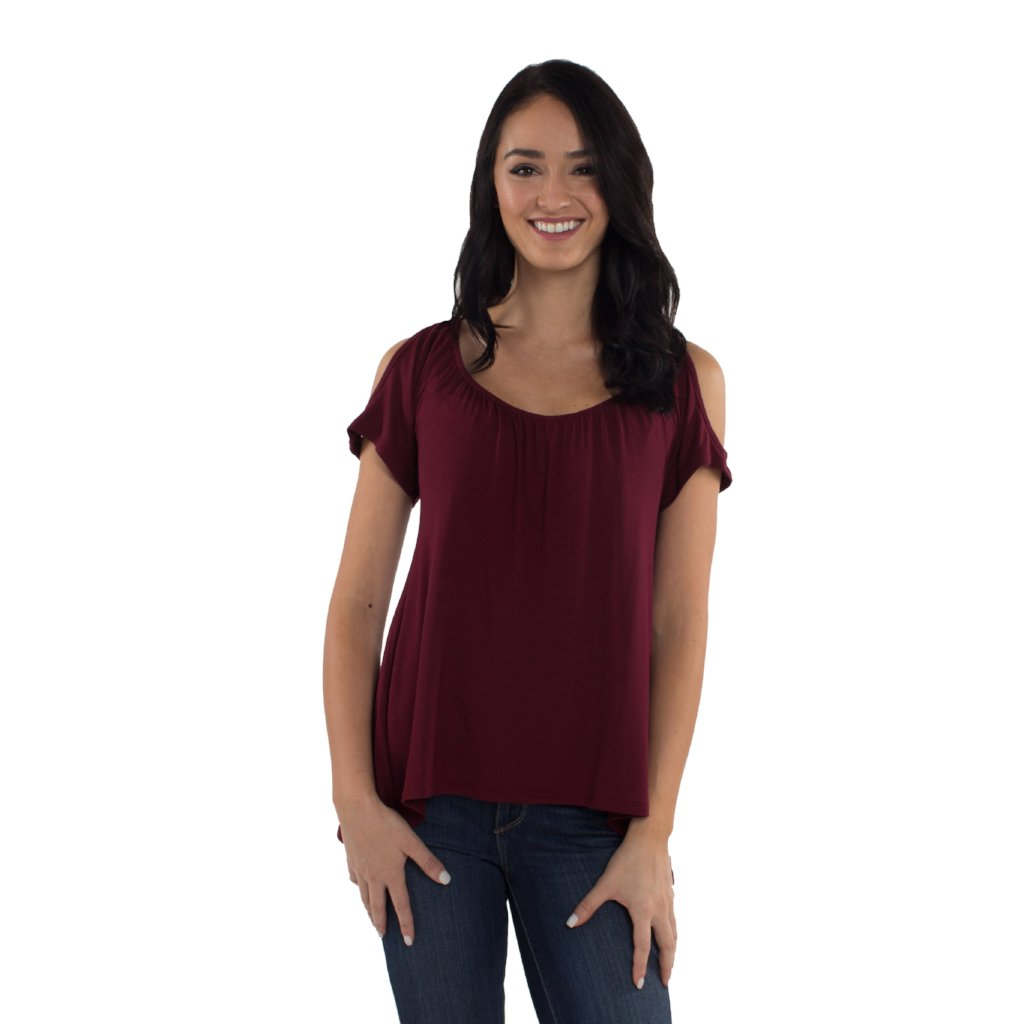 Cold Shoulder Maternity/Nursing Top in Bordeaux by Udderly Hot Mama