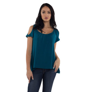Cold Shoulder Maternity/Nursing Top in Teal by Udderly Hot Mama