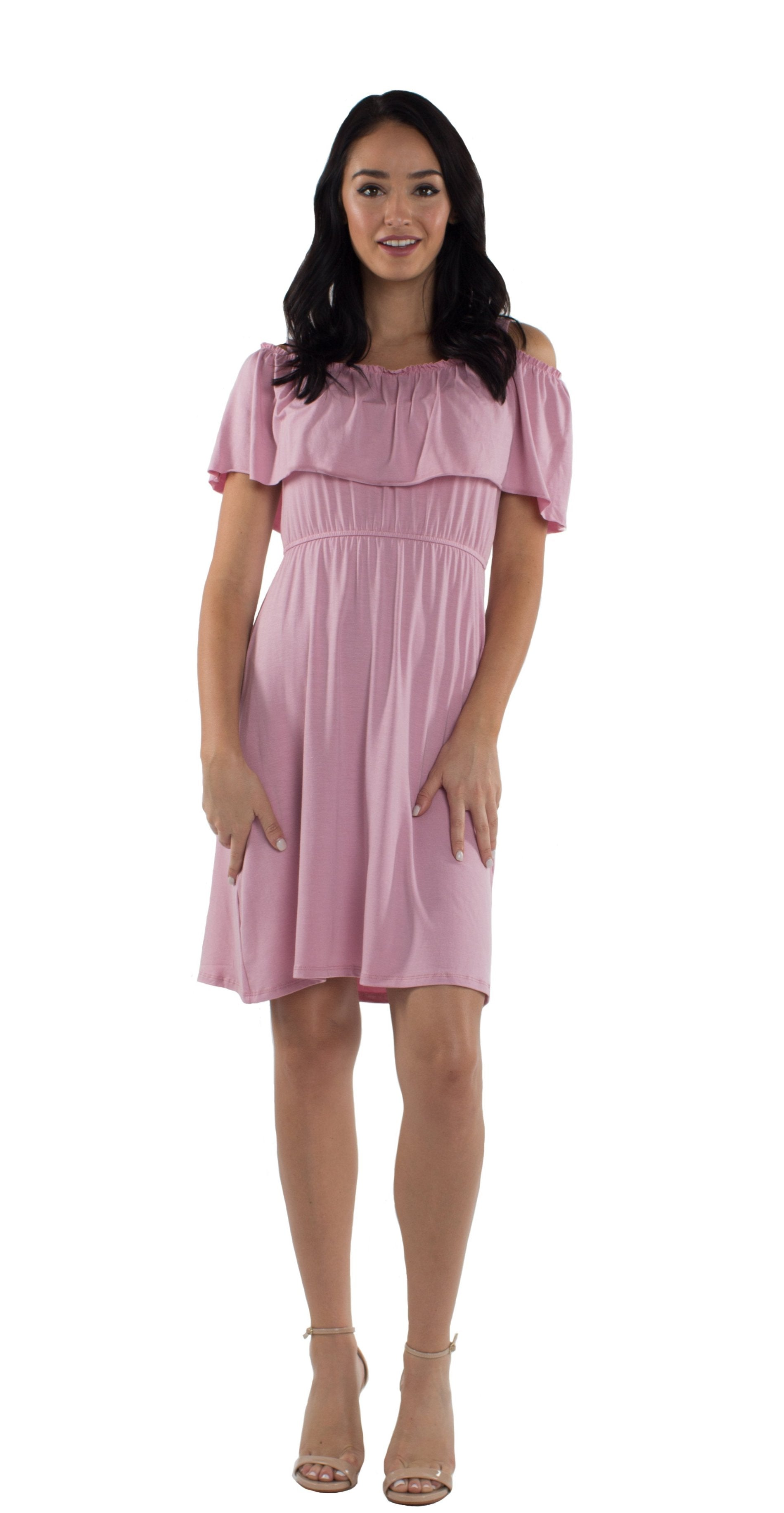 Ruffle Cold Shoulder Maternity/Nursing Dress in Blush
