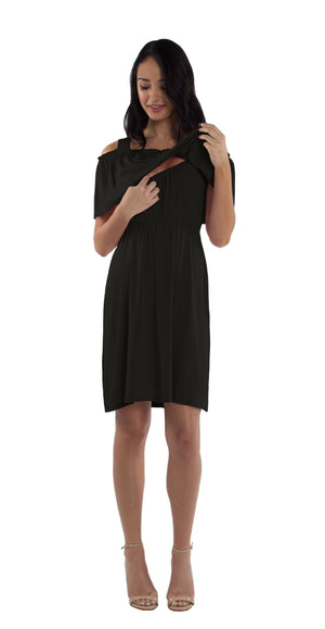 Ruffle Cold Shoulder Maternity/Nursing Dress in Black