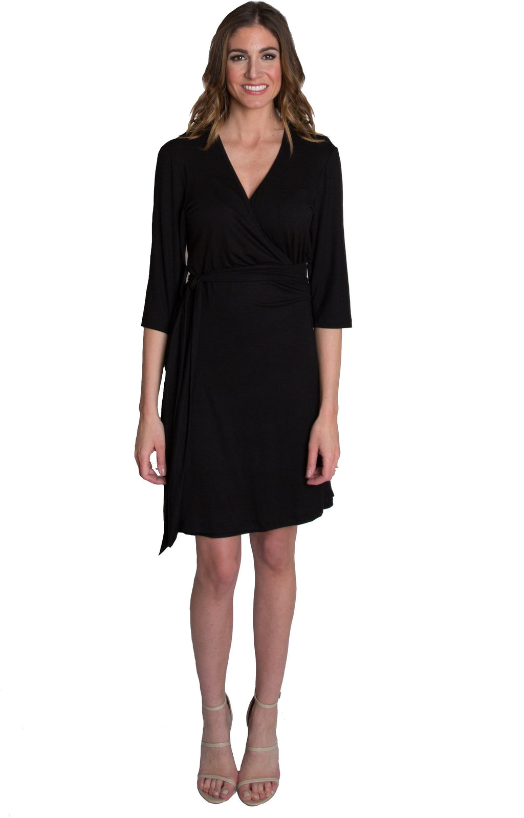 Whimsical Wrap Maternity/Nursing Dress - Black