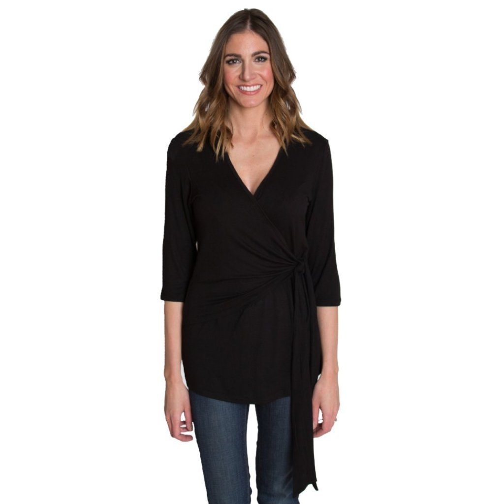 Whimsical Wrap Nursing Top - Black