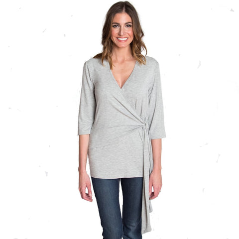 Whimsical Wrap Nursing Top - Heather Gray