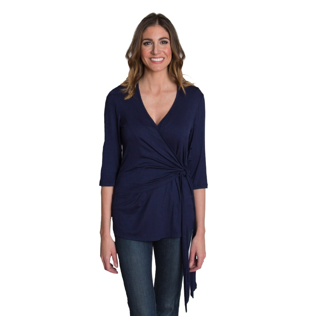 Whimsical Wrap Nursing Top - Navy