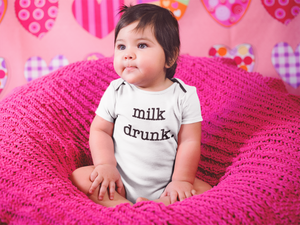 """Milk Drunk"" Short-Sleeved Baby Bodysuit"