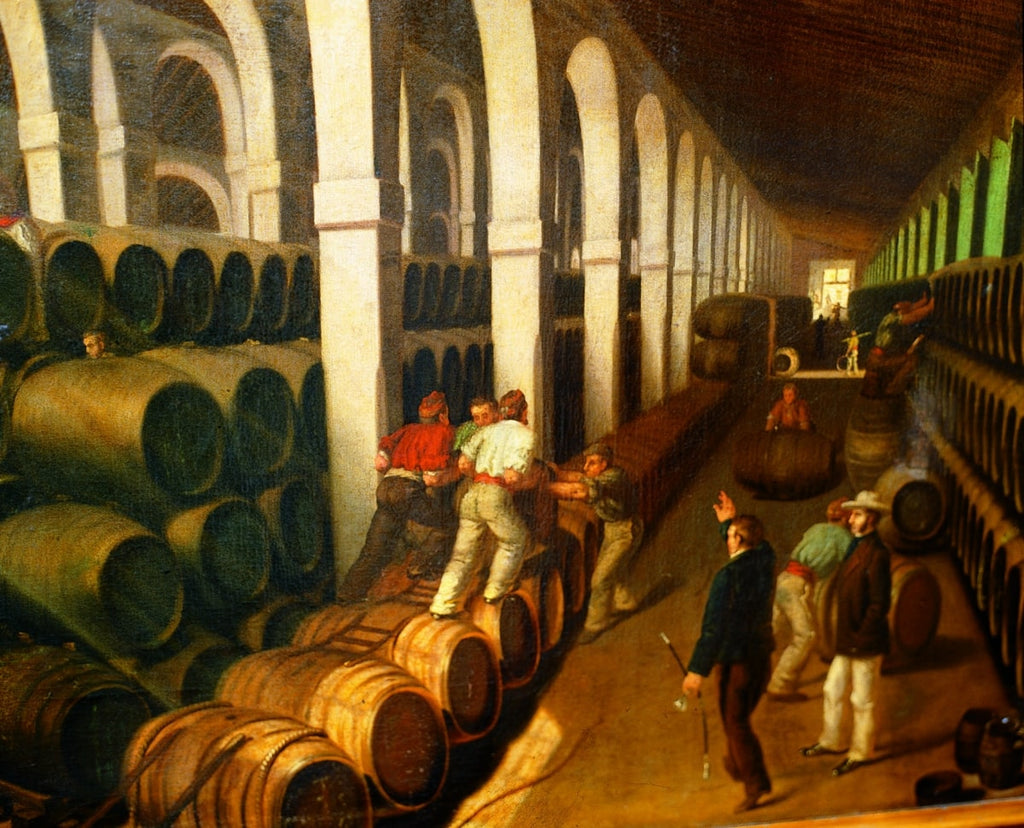 Painting of Arrumbadores in a bodega in Jerez