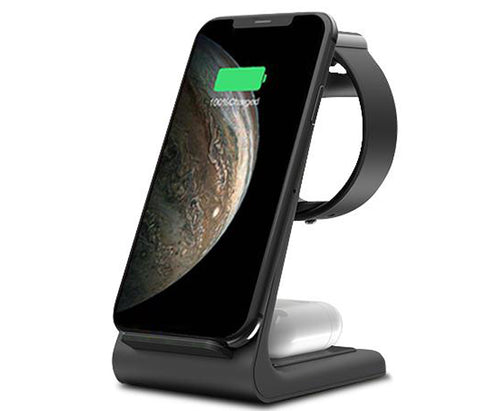 3 In 1 Fast Wireless Charging Stand For iPhone, Apple Watch And Airpods