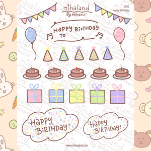 mihaland - Happy Birthday Planner Stickers (D002)