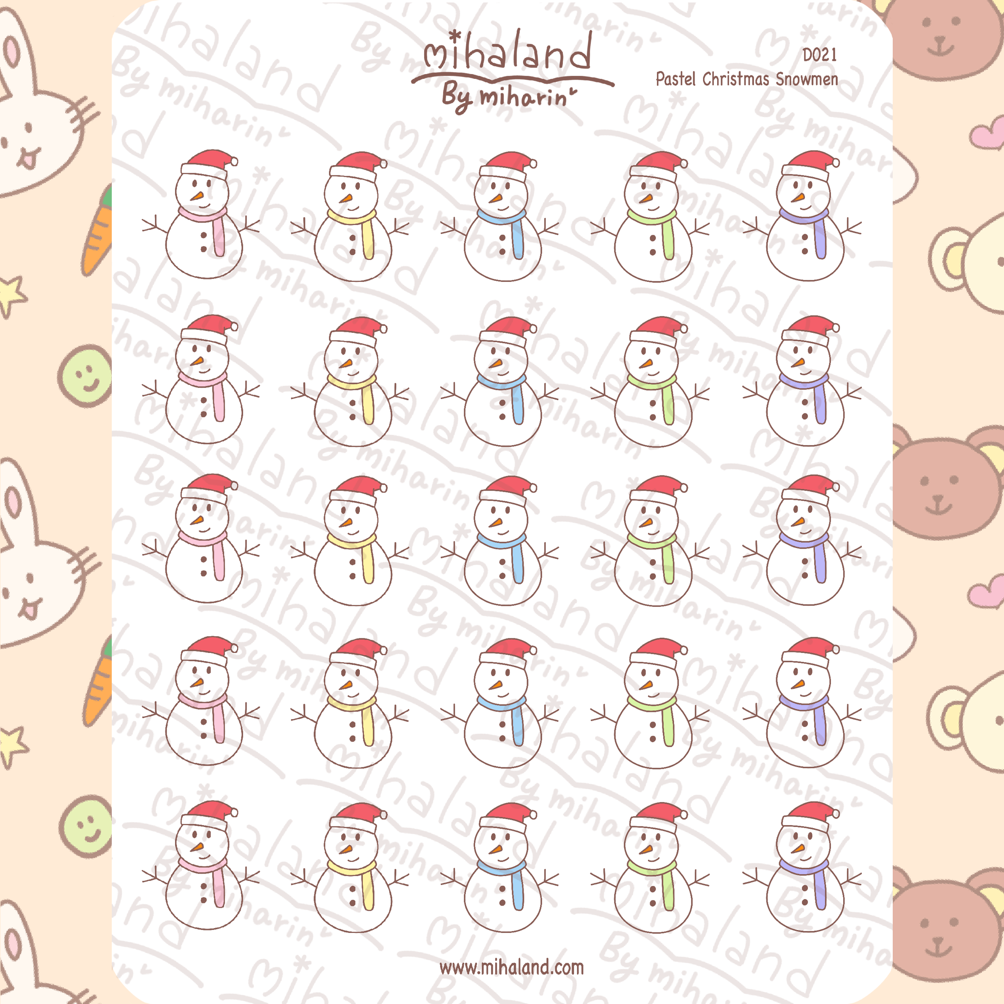 mihaland - Pastel Christmas Snowmen Planner Stickers (D021)