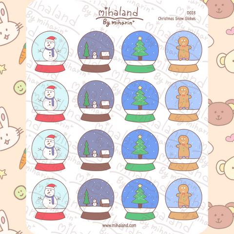 mihaland - Christmas Snow Globes Planner Stickers (D028)