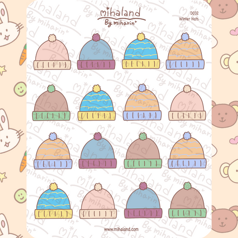 mihaland - Winter Hats Planner Stickers (D032)