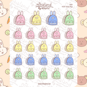 mihaland - Pastel School Bags Planner Stickers (D069)